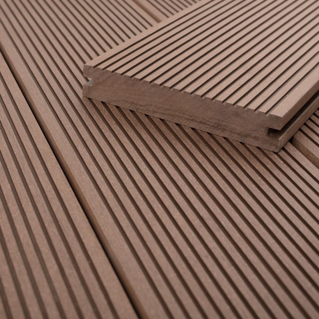 FANO WPC Terrassendiele massiv Erdbraun glatt / fein gerillt