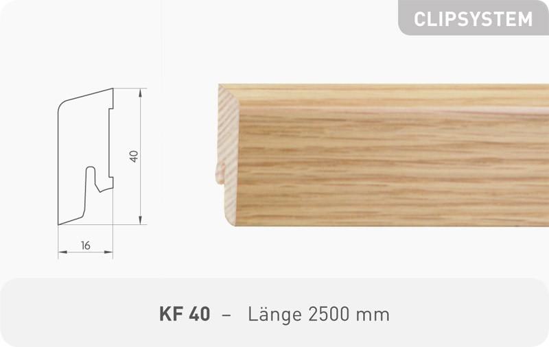 Parkettleiste KF 40 Eiche roh 2,50 m
