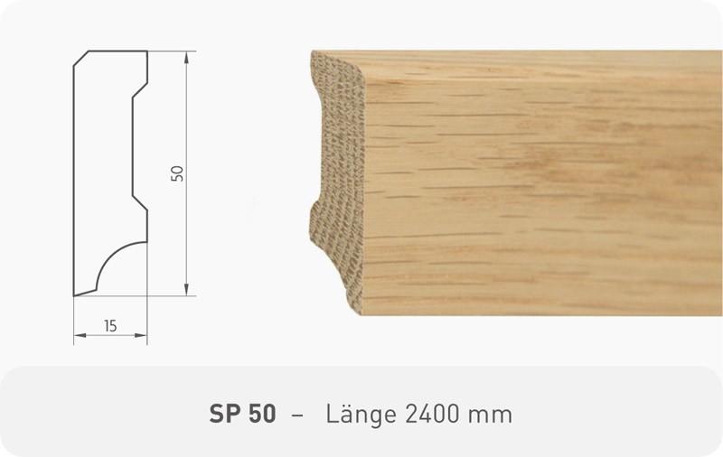 Parkettleiste SP 50 Kiefer weiß RAL 9010 ProStrong 2,40 m