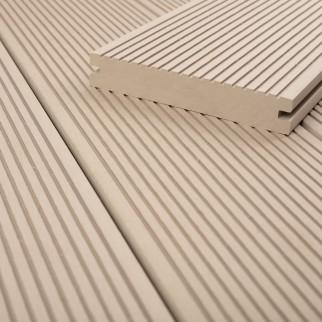 FANO WPC Terrassendiele massiv Elfenbein glatt / fein gerillt