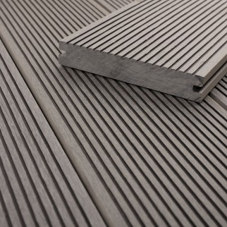 FANO WPC Terrassendiele massiv Titangrau glatt / fein gerillt