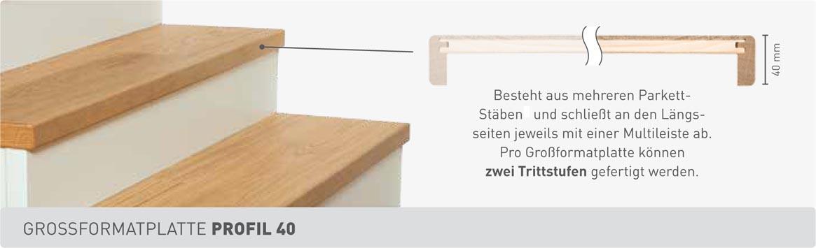 Weitzer Parkett Stiegen Grossformatplatte Profil 40