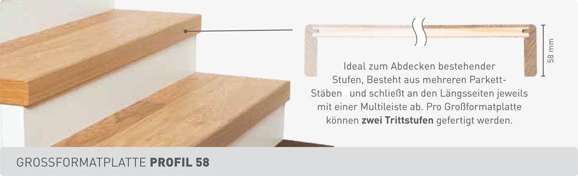 Weitzer Parkett Stiegen Grossformatplatte Profil 58