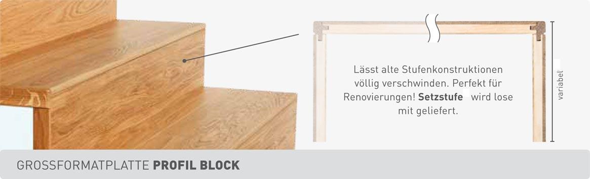 Weitzer Parkett Stiegen Grossformatplatte Profil Blockstufe